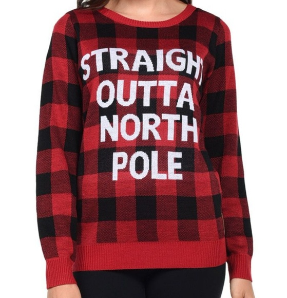 nwt womens red plaid ugly christmas sweater - Red Ugly Christmas Sweater